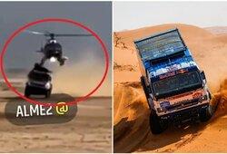 """Neįprastas incidentas Dakare: """"Kamaz"""" sunkvežimis susidūrė su sraigtasparniu"""