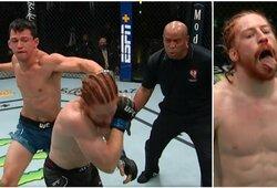 Priblokštas buvo net D.White'as: UFC kovotojas per anksti atsuko nugarą ir krito į nokdauną
