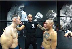 """Pamatykite: rankas """"prisipūtęs"""" rusas MMA kovoje krito prieš garsų blogerį"""
