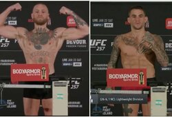 """""""UFC 257"""": pirmas atėjęs C.McGregoras pasiekė čempionišką svorį, atšauktos dvi kovos"""