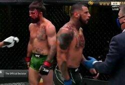 J.Milleris pagerino UFC visų laikų rekordą, skandalingojo M.Perry veidas buvo sumaitotas