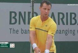 """Kova dėl istorinės pergalės """"Roland Garros"""" turnyre: R.Berankis – H.Dellienas 6:1, 5:4 (GYVAI)"""