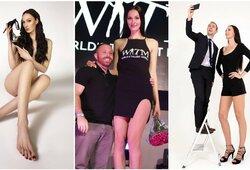 Ilgiausių kojų pasaulyje savininkė metė krepšinį ir tapo modeliu