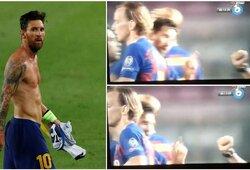 Po rungtynių – piktas įvartį praradusio L.Messi gestas teisėjui