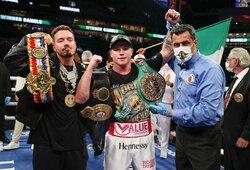 S.Alvarezas privertė A.Yildirimo vieną iš trenerių į ringą mesti rankšluostį, Meksikos bokso žvaigždė susikaus su kitu čempionu B.J.Saundersu
