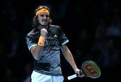 S.Tsitsipas užsitikrino vietą pusfinalyje, R.Nadalis prarado situacijos kontrolę, D.Medvedevo viltys atgijo