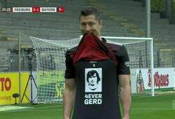 Legendinį rekordą pakartojęs R.Lewandowskis pagerbė G.Mullerį