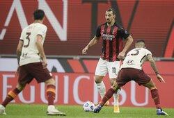 """6 įvarčių fiesta Italijoje baigėsi """"Milan"""" ir """"Roma"""" lygiosiomis"""