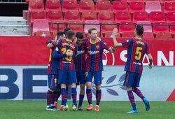 """O.Dembele ir L.Messi įvarčiai padovanojo """"Barcelonai"""" pergalę prieš """"Sevilla"""""""