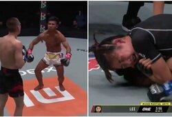 """""""ONE Championship"""": ruso smūgius be gynybos """"sugėręs"""" tailandietis atliko šokį, 16-metė pergalingai debiutavo organizacijoje"""