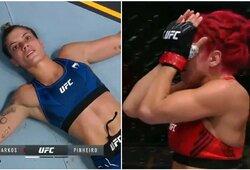 """""""Ar aš pralaimėjau?"""": UFC turnyre – diskvalifikuota kovotoja ir į ligoninę išgabenta jos varžovė"""