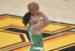 """""""Celtics"""" naujokas per penkias minutes pataikė aštuonis tritaškius"""