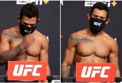 """Antirekordas: UFC kovotojas taip viršijo svorio limitą, kad nebūtų """"tilpęs"""" net į aukštesnę svorio kategoriją"""