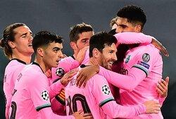 """Čempionų lygoje – 3 neįskaityti A.Moratos įvarčiai ir """"Barcelonos"""" pergalė prieš dešimtyje rungtyniauti likusį """"Juventus"""""""