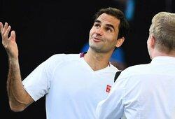 """Septynis kartus ant iškritimo iš """"Australian Open"""" ribos buvęs R.Federeris penkioliktą kartą karjeroje pateko į pusfinalį"""
