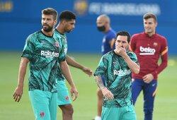 """G.Pique atskleidė, kokią žinutę parašė L.Messi, kai šis išreiškė norą palikti """"Barceloną"""""""