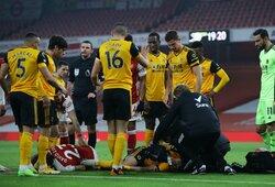 """""""Wolves"""" patvirtino: R.Jimenezui po skaudaus susidūrimo su D.Luizu lūžo kaukolė"""