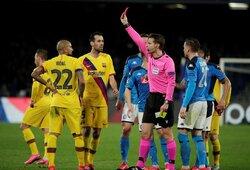 """A.Griezmanno įvartis išgelbėjo """"Barcelona"""" Italijoje,bet prarado kvailą raudoną kortelę užsidirbusį A.Vidalį"""