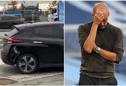 P.Guardiola nustebino: į stadioną atvyko įlenktu automobiliu