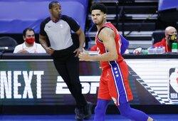 """Filadelfijoje – pergalingas T.Harriso metimas į """"Lakers"""" krepšį ir nesportiškas L.Jameso elgesys"""