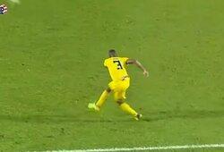 Pamatykite: H.Goulonas 93-ąją minutę Malaizijos FA taurės pusfinalyje pelnė įspūdingą įvartį nuo vidurio aikštės