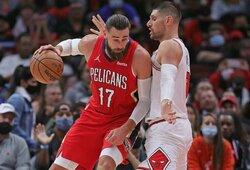 """J.Valančiūnas buvo tarp rezultatyviausių, tačiau """"Pelicans"""" nepasipriešino """"Bulls"""" ekipai"""