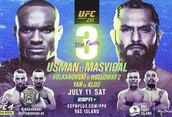 """""""UFC 251"""" pristatymas ir prognozės: ar J.Masvidalis sukurs istoriją, M.Holloway ir R.Namajunas pasieks revanšus, o J.Aldo įtvirtins savo vardą tarp visų laikų geriausių?"""