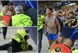 Po C.Ronaldo smūgio – sukniubęs apsaugos darbuotojas
