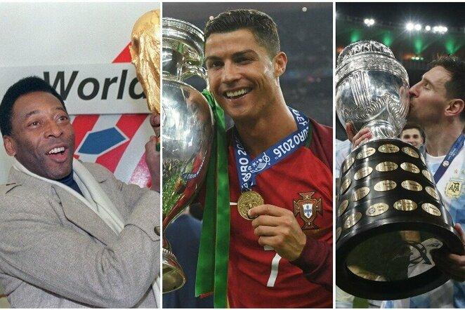 Pele, Cristiano Ronaldo ir Lionelis Messi   Scanpix nuotr.