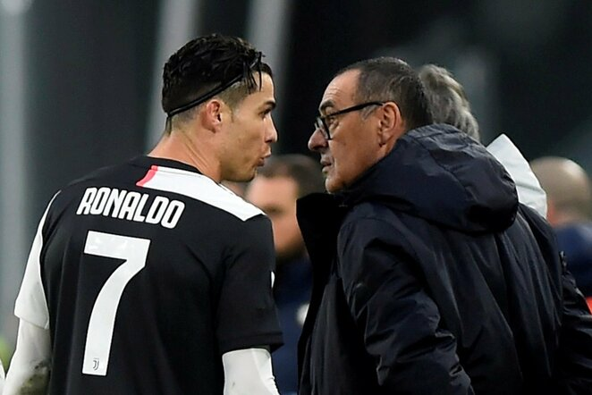 Cristiano Ronaldo ir Maurizio Sarri | Scanpix nuotr.