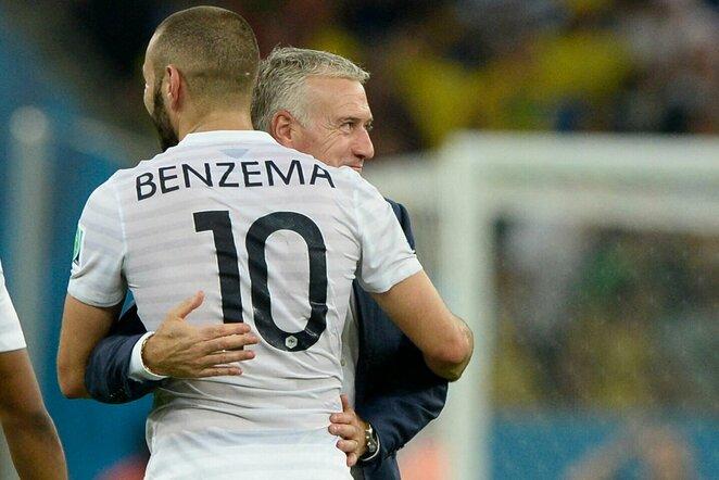 Didieras Deschampsas ir Karimas Benzema 2014 metais | Scanpix nuotr.