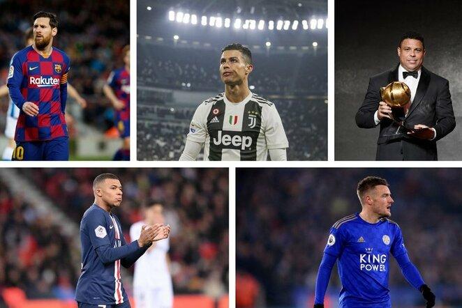 Lionelis Messi, Cristiano Ronaldo, Ronaldo Nazario, Kylianas Mbappe ir Jamie Vardy | Scanpix nuotr.