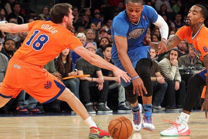 R.Westbrookas per 20 minučių spėjo užfiksuoti trigubą dublį (Scanpix nuotr.)