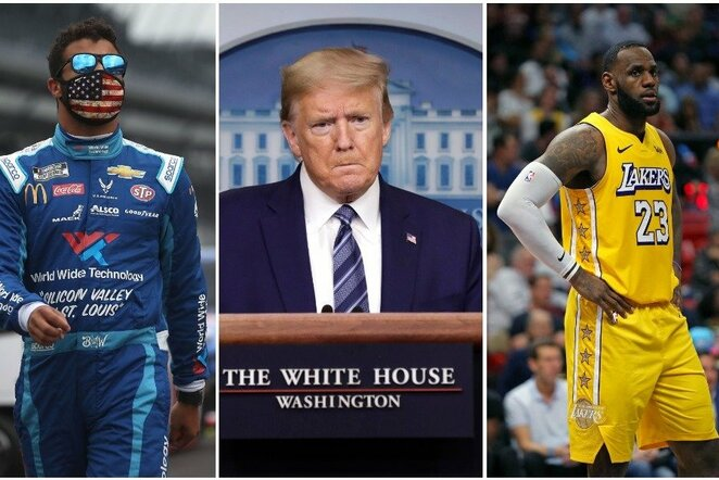 Bubba Wallace'as, Donaldas Trumpas ir LeBronas Jamesas | Scanpix nuotr.