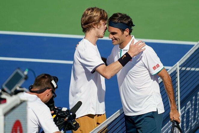 Andrejus Rublevas ir Rogeris Federeris | Scanpix nuotr.