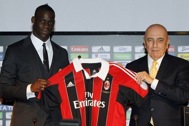 Mario Balotelli ir Adriano Galliani | Reuters/Scanpix nuotr.