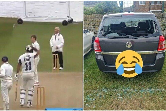 """Kriketo žaidėjas išdaužė savo automobilio stiklą   """"Twitter"""" nuotr."""