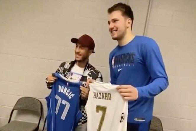 """Edenas Hazardas ir Luka Dončičius   """"Twitter"""" nuotr."""