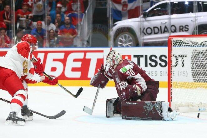 Rusija – Latvija rungtynių akimirka | IIHF nuotr.