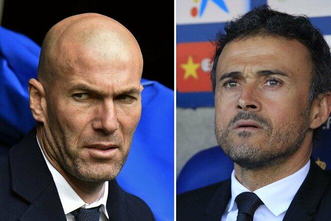 Zinedine'as Zidane'as (kair.) ir Luisas Enrique    Scanpix nuotr.