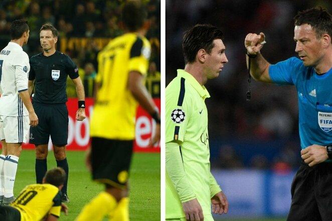 Cristiano Ronaldo, Lionelis Messi ir Markas Clattenburgas | Scanpix nuotr.