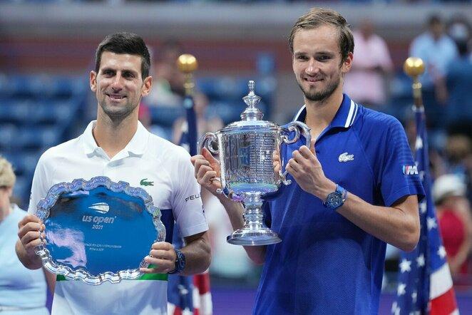 Novakas Djokovičius ir Daniilas Medvedevas | Scanpix nuotr.