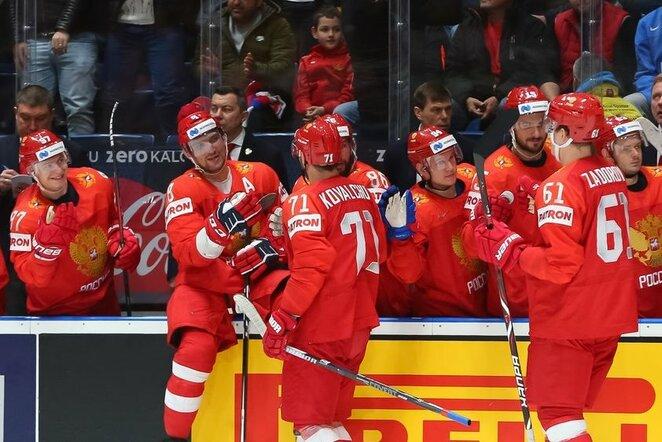 Rusijos – Italijos rungtynių akimirka | IIHF nuotr.