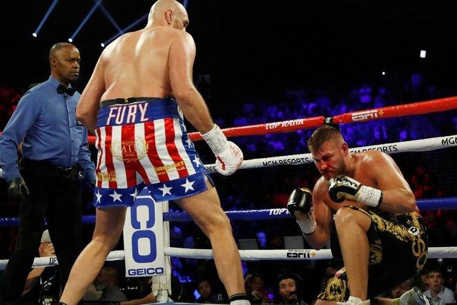 Tysono Fury ir Tomo Schwarzo kovos akimirka | Scanpix nuotr.