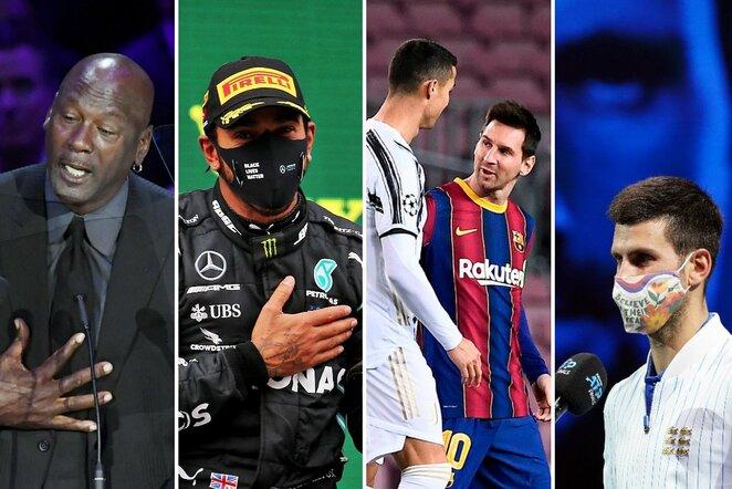 Michaelas Jordanas, Lewisas Hamiltonas, Cristiano Ronaldo su Lioneliu Messi ir Novakas Djokovičius | Scanpix nuotr.
