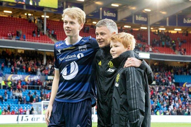 Ole Gunnaras Solskjaeras su sūnumis Noah ir Elijah | Scanpix nuotr.