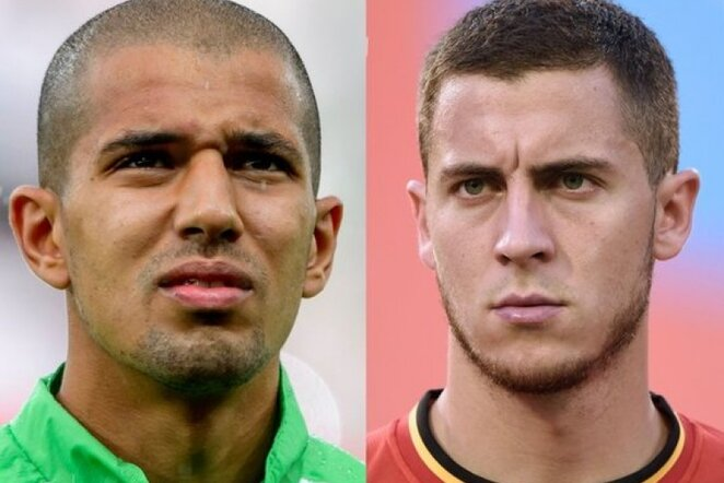 Sofiane Feghouli ir Edenas Hazardas | AFP/Scanpix nuotr.