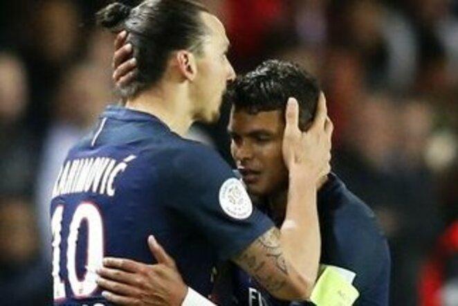 Zlatanas Ibrahimovičius ir Thiago Silva | Scanpix nuotr.