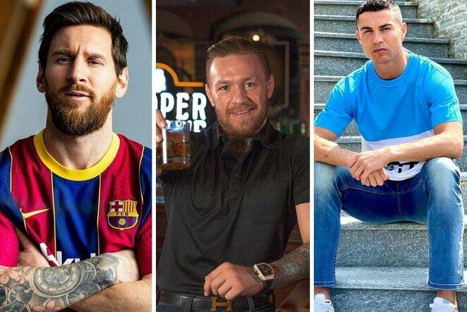 Lionelis Messi, Conoras McGregoras ir Cristiano Ronaldo | Organizatorių nuotr.