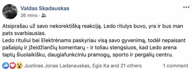 "V.Škadausko įrašas | ""Facebook"" nuotr."